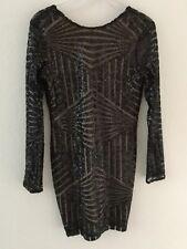 ADELYN RAE - LONG SLEEVE SEQUIN GEOMETRIC DESIGN DRESS - OPEN BACK - M - NWOT