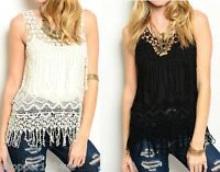 Open Crochet & Mesh Lace Applique Fringed Sleeveless Tank Blouse Top