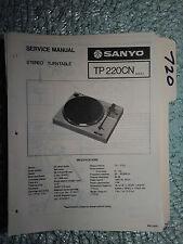 Sanyo tp-220 service manual original repair book stereo turntable record player