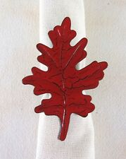 New listing Country Red Leaf Metal Napkin Ring Distressed Fall Autumn Farmhouse Tabletop