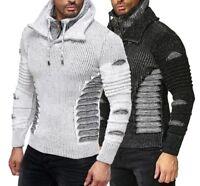 Herren Strickpullover mit Schalkragen Pullover Hoodie Sweater Sweatpullover 5014