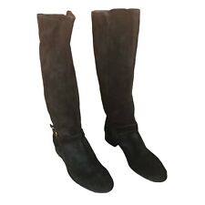 New listing J Crew Classic Black Suede Leather Knee High Riding Boots with Buckle EUC Size 8