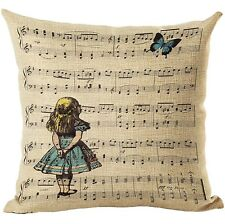 "Alice in Wonderland Music 17"" Square Cushion Cover Pillow Case Home Decor Gift"