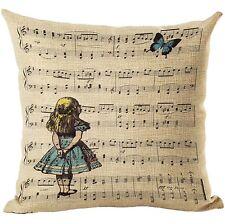 """Alice nel paese delle meraviglie Music 17"""" QUADRATO Copricuscino Federa Home Decor Regalo"""