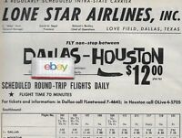 LONE STAR AIRLINES 1960 AD & SCHEDULE MARTIN 202 CUSTOMLINERS DALLAS/HOUSTON