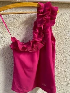 H&M Pink One-shoulder Ruffle Top EUR 36