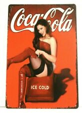 New Coca Cola Coke Tin Metal Sign Rustic Vintage Pinup Girl Ad Style Diner Soda