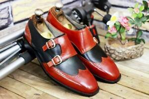 Handmade Leather Men Two Tone Double Monk Cap Toe Shoes, Men Brown Black Stylish