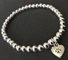 Paw Print Jewellery Stretch Bracelet  With Paw Print Heart Animal Lovers Gift
