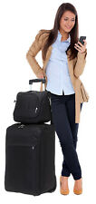 2er SET: SPEAR Trolley 60 cm + Beautycase Reisetrolley Koffer SCHWARZ + Beutel