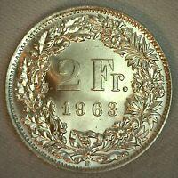 1963 Switzerland BU Silver 2 Francs Coin Uncirculated Helvetia Swiss 2 Fr.
