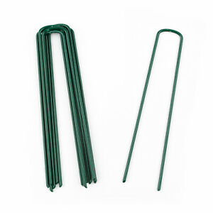 Green Powder Coated Artificial Grass Pins Staples 150mm