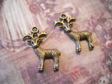 4 Deer Charms Antiqued Bronze Pendants Nature 3D 2 Sided Animal