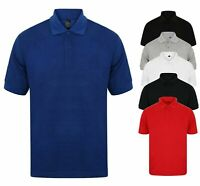 NEW MENS POLO SHIRT SHORT SLEEVE PIQUE PLAIN T-SHIRT TEE SUMMER WORK BASIC