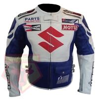 SUZUKI 4269 MOTORCYCLE COWHIDE LEATHER WHITE/BLUE SPORTS ARMOURED LEATHER JACKET