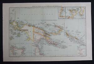 Antique Map: New Guinea & Papuan Archipelago, The Universal Atlas, 1893, Colour