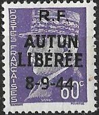 LIBERATION ..RRR...AUTUN...60c** violet..Signé.P MAYER