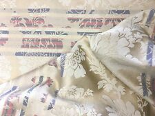 """4 Yards Decorator Fabric Large Print Tan Pink Blue 50"""" Wide Usable Sweet Deal!"""