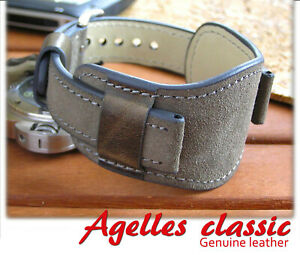 Grey genuine leather watch strap 18-22mm men watch bund band cuff watch bracelet