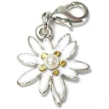 Edelweiss Strass Perle Charm Anhänger für Charms  Bettelarmband oder Kette C 482