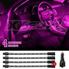 "4pc 8"" Strips Car Under Body Interior Truck Bed Neon LED Lighting Light Kit Pink"