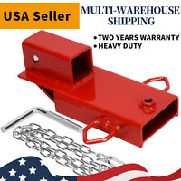 "2"" Clamp On Forklift Hitch Receiver Pallet Fork Trailer Towing Adapter W/ Chain"