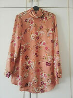 PRIMARK WOMENS BROWN RED FLORAL LONG SLEEVE BLOUSE TOP SIZE 10 HIGH COWL NECK