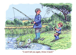 """Throw it back"" FISHING CARTOON A4 PRINT BY ARMAND FOSTER"