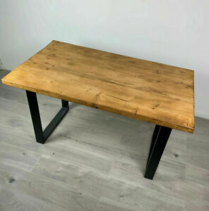 NEW INDUSTRIAL SOLID WOOD OAK COLOUR RUSTIC HANDMADE DINING TABLE TOP TABLE ONLY