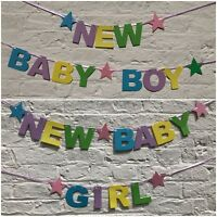 Personalised New Baby Shower BANNER boy girl Pastel colours decorations bunting