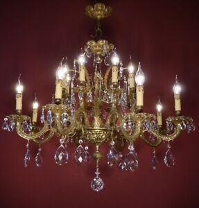 """HUGE 16 LIGHT CRYSTAL CHANDELIER BRASS VINTAGE LAMP SPANISH OLD Ø 35"""""""