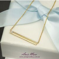 Gold Bar Necklace with Natural Diamond in 9K Yellow Gold incl. 9K Gold Chain