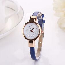 Ladies Fashion Rose Gold White Dial Quartz Slim Blue Band Wrist Watch.