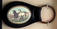 Key Ring Leather Barlow Scrimshaw Carved Painted Stallions Horses 330614c NEW