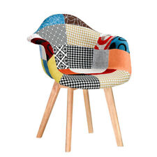 Retro Patchwork Fabric Tub Dining Chairs - Padded Seat -Solid Wood Legs Armchair