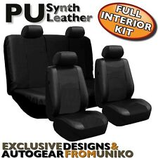 Black PU Faux Leather Car Seat Cover Set Headrests Steering Wheel 13pc CS5