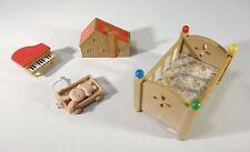 Sylvanian Vintage Nursery Furniture Crib Toy Piano Rabbit Teddy and Dollhouse