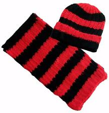 Womens Winter Fashion Chunky Knitted Hat Scarf Set Ski Beanie Red Black Stripes