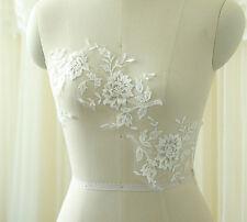 Embroidery DIY Lace Applique Bridal Evening Dress Trim Floral Costume Motif 1 PC