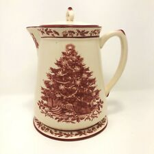 Cracker Barrel Christmas Tree Teapot Pitcher Hot Chocolate Red Country