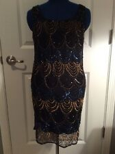 Angie (Von Maur) Black Beaded Knee Length Tank Top Dress *S* NWT!