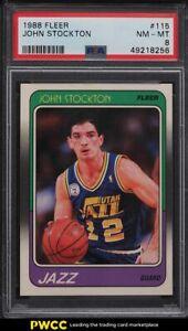 1988 Fleer Basketball John Stockton ROOKIE RC #115 PSA 8 NM-MT