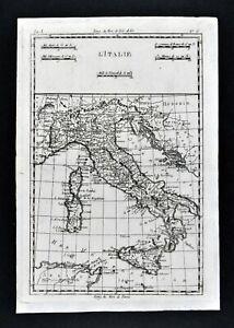 1780 Bonne Map Italy Venice Rome Florence Naples Sicily Sardinia Corsica Croatia