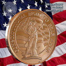 """""""The 2nd Amendment"""" 1 oz .999 Copper Round Constitutional Right to Bear Arms"""