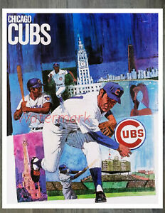 Vintage MLB Chicago Cubs REPRINT Art Poster Picture Color 8 X 10 Photo