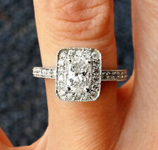 1.75 ctw EGL G VS2 cushion diamond engagement halo ring 18k gold 10.75x9.30mm