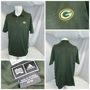 Green Bay Packers Adidas Clima Lite Polo Shirt M Men Green Cotton YGI E0-233