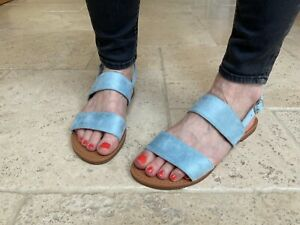 Womens Slingback Sandals Strappy Flat Sliders By CM Paris - 839 751 Blue