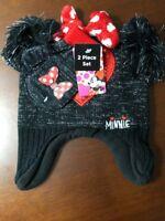 NWT Minnie Mouse Hat Black Knit Beanie Bow & Pom Pom Ears Cap With Gloves