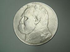 Old Warsaw Poland Polish 1935 SILVER Pilsudski 10 Zlotych Zlote Coin Nr 1806